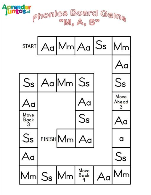 Phonics Board Game M,A,S level 1