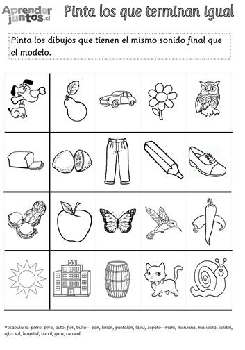 Conciencia Fonológica: Sonido Final | Aprender Juntos